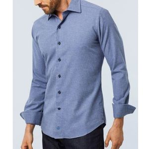 NWT David Donahue Brushed Melange Shirt in Denim